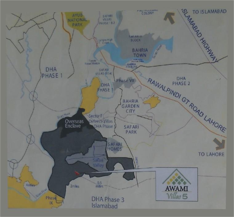 Bahria Town Islamabad Phase 8: Bahria Town , Awami Villas 5 Location , Bahria Town Map