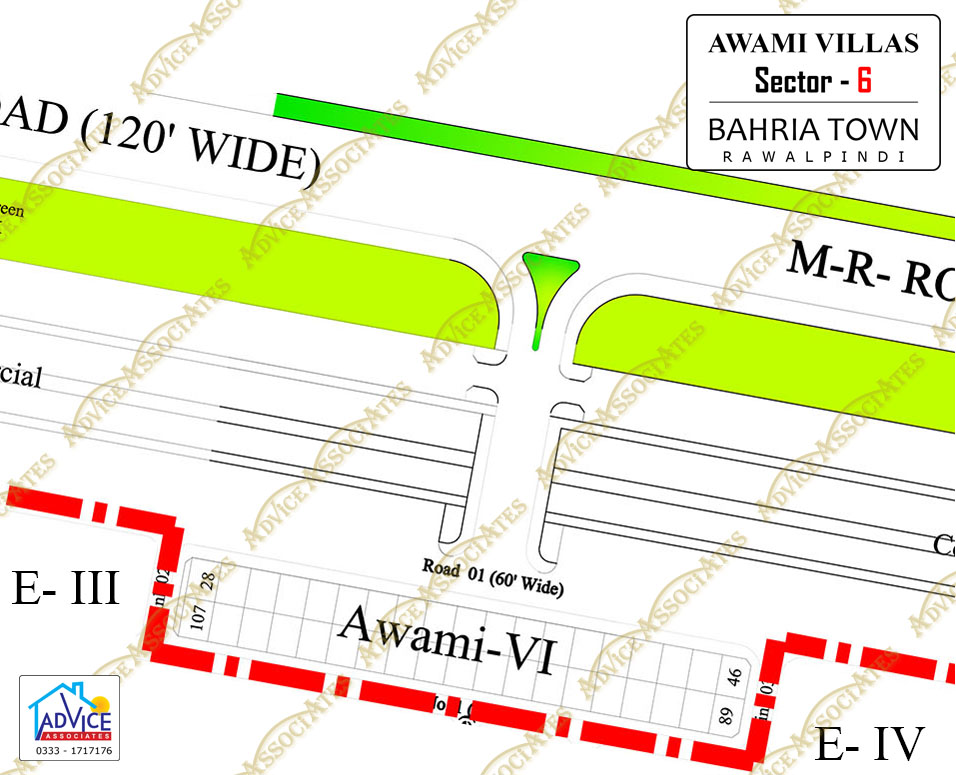 Map of bahria town all phases and blocks for Awami villas 3 map