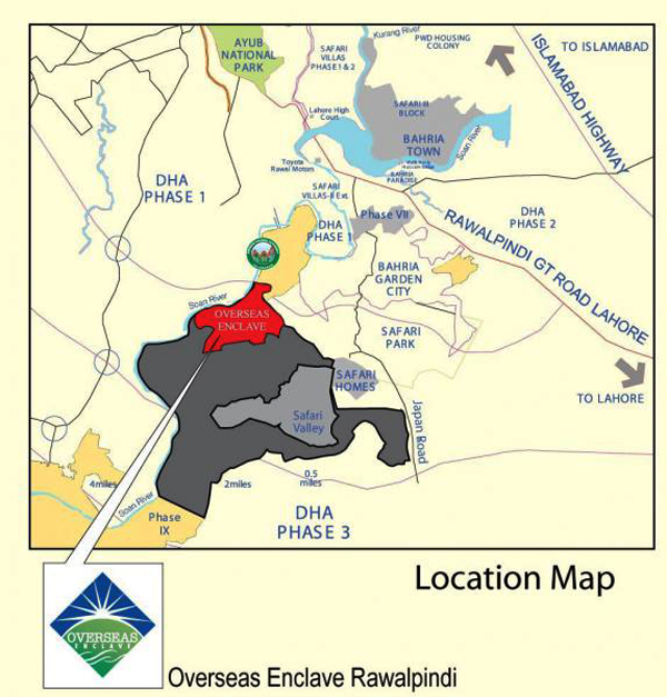 Bahria Town Islamabad Phase 8: Map Oversease Enclave , Oversease Enclave Location